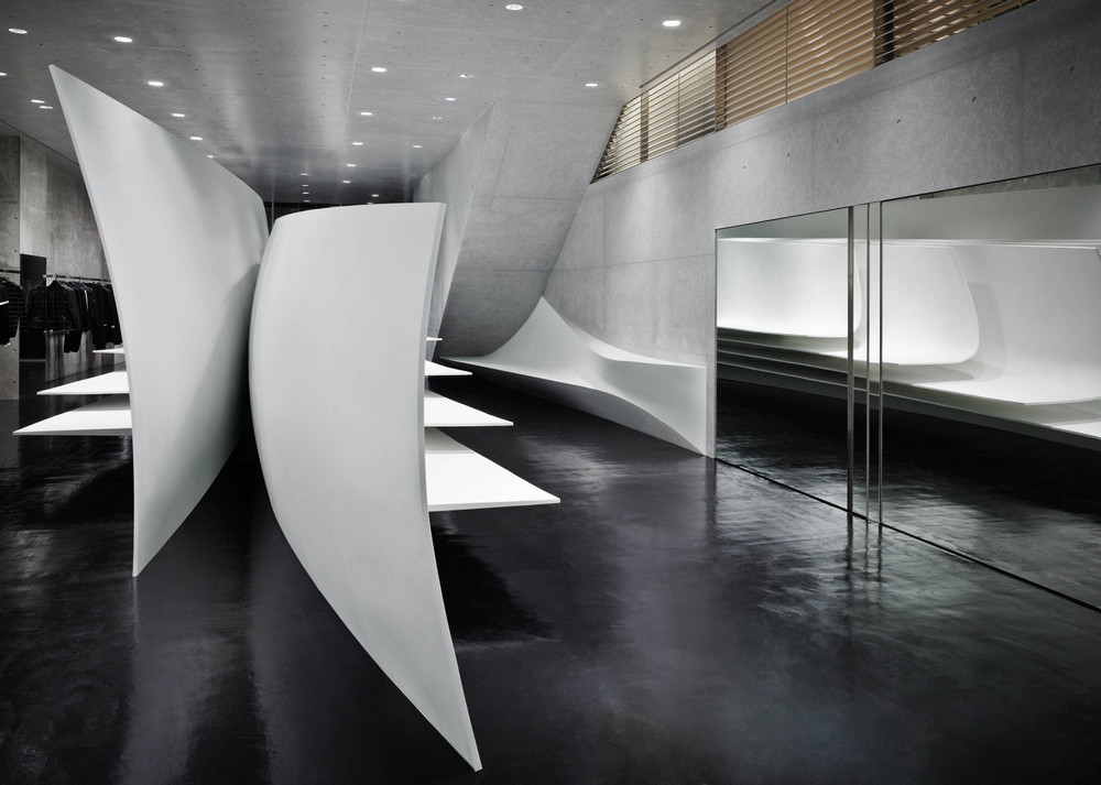 neil barrett flagship store in tokyo japan by zaha hadid. Black Bedroom Furniture Sets. Home Design Ideas