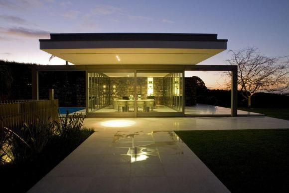 Pool pavilion at dusk, Image Courtesy © Emma-Jane Hetherington