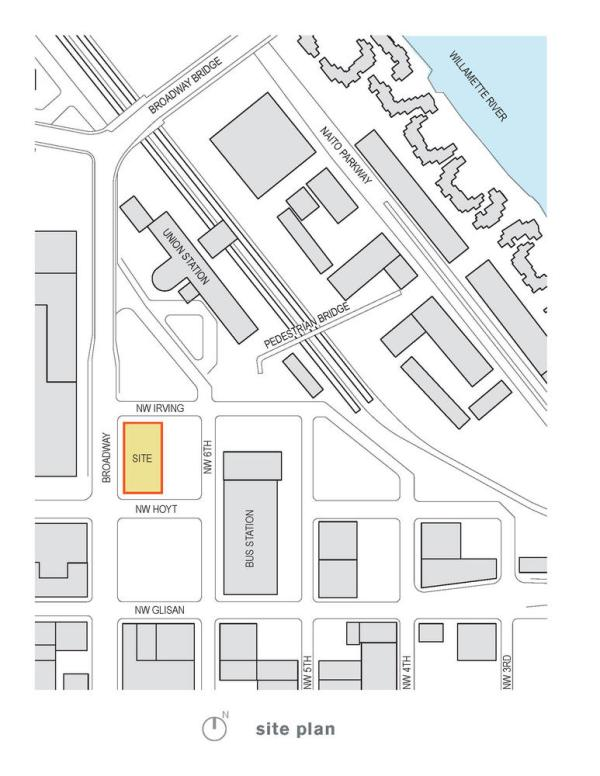 Site plan showing Bud Clark Commons' central urban location and proximity to important Portland institutions. - Photo Credit: Holst Architecture