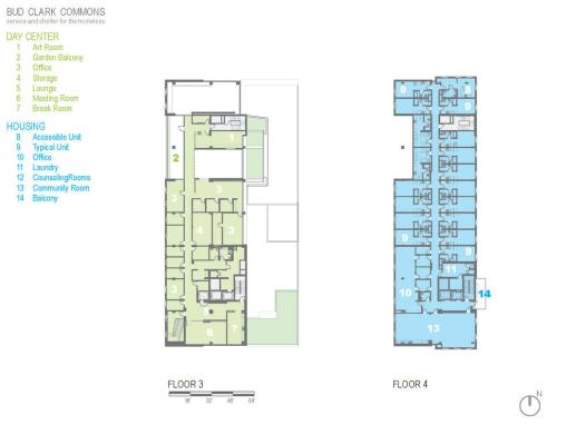 Floor plan for floors 3-4. - Photo Credit: Holst Architecture