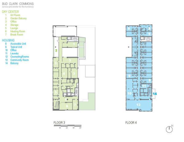 Floor plan for floors 3-4. - Photo Credit: Holst Architecture