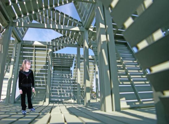 Detail view of the interior of the M-pavilion, Image Courtesy © Michael Jantzen