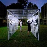 After each semester, it temporally is moved out and set on the grass between school buildings, and students enjoy playing around its space, Image Courtesy © Yuji Nakajima