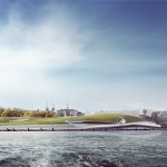 View Across Port Toward West Showing Museum and Relationship to Park, Image Courtesy © PLUS-SUM Studio