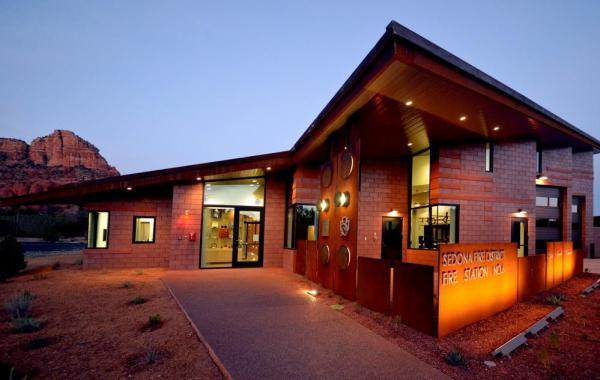 Dusk Entry Community Patio + Trail, Image Courtesy © LEA Architects