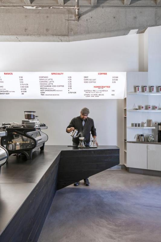 View of pour over station, menu board, Image Courtesy © Art Gray