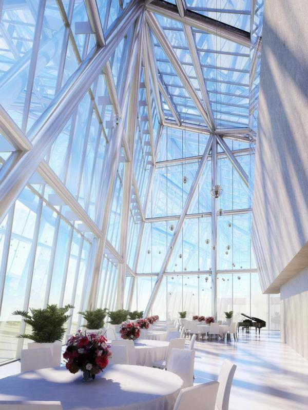 Event space at top of tower, Image Courtesy © Pei Cobb Freed & Partners