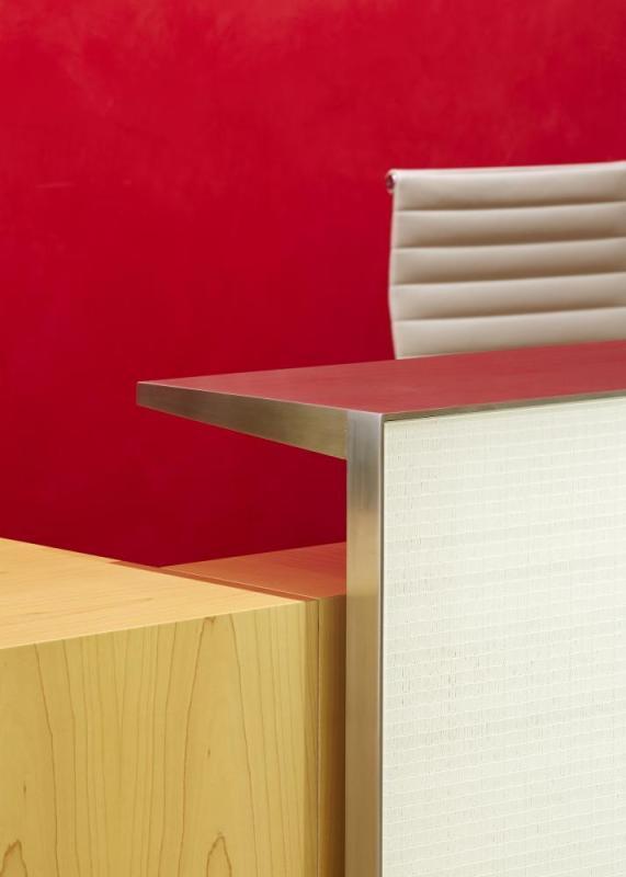Reception desk detail, Image Courtesy © Paul Riddle