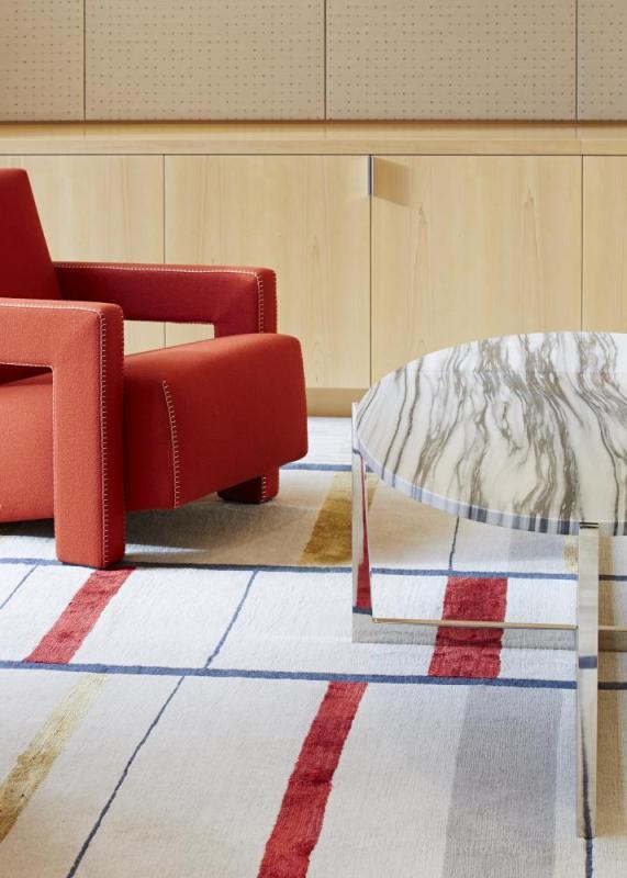 Rietveld designed chair and custom Tibetan rug, Image Courtesy © Paul Riddle