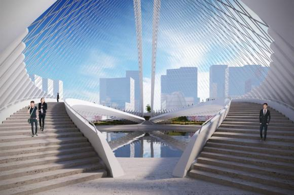 Artistic impression of Xianbi's central space, Image Courtesy © Santiago Calatrava LLC