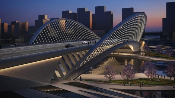 Artistic impression of Licong's lateral view. Dusk shot, Image Courtesy © Santiago Calatrava LLC