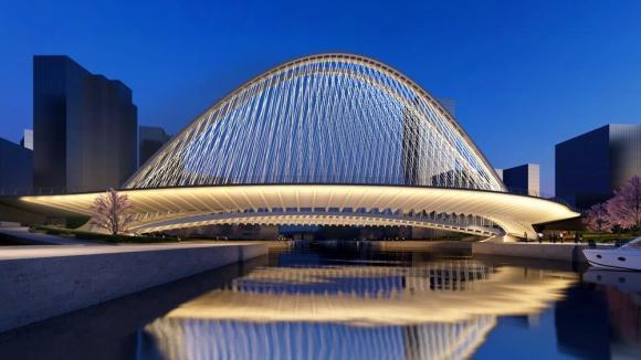 Artistic impression of Xianbi's lateral view. Dusk shot, Image Courtesy © Santiago Calatrava LLC