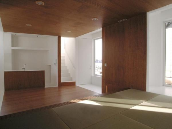 living room, kitchen, and staircase viewed from  Japanese room, Image Courtesy © HYAD architects