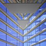 """Performance Hall detail of building """"nose.""""  Ceiling panels provide acoustical tuning and obscure acoustical surfaces, Image Courtesy © Gray City Studios (Scott McDonald)"""