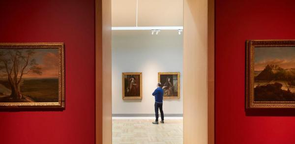 View from the Treasury Gallery into the Long Gallery, The Harley Gallery, Welbeck, Image Courtesy © Hufton+Crow