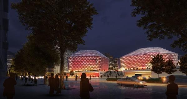 Urban Concert Hall, night, Image Courtesy © gmp