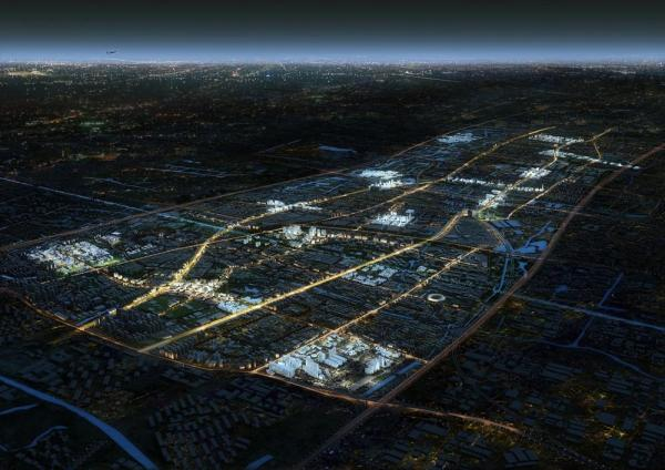 Masterplan, bird view by night, Image Courtesy © Willmore