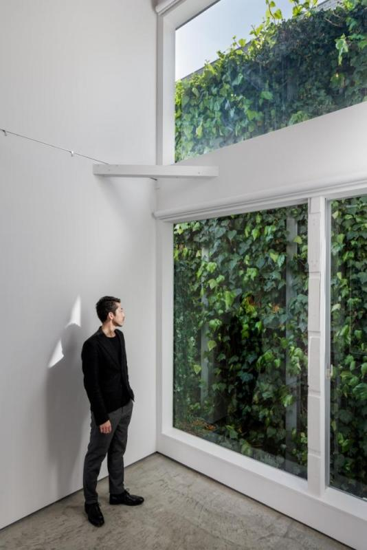 The fine green wall covered with ivy belongs to the rear building. We take it in as borrowed scenery by setting up large windows and a double height, Image Courtesy © Jérémie Souteyrat
