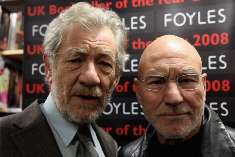 Sir Ian McKellen and Patrick Stewart pose for photos before reading from 'The Letters of Samuel Beckett', and discussing their roles in a production of Waiting for Godot opening at The Theatre Royal Haymarket (on April 30th 2009) at Foyles Bookshop on February 26, 2009 in London, England  (Photo by Tim Whitby/Getty Images) *** Local Caption *** Sir Ian McKellan;Patrick Stewart