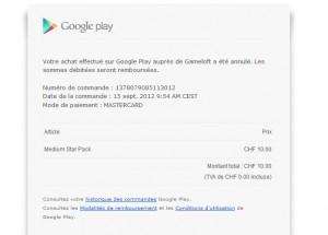 Le reçu de Google.