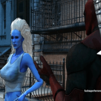 Deadpool loves to fuck this blue skinned mutant chick!