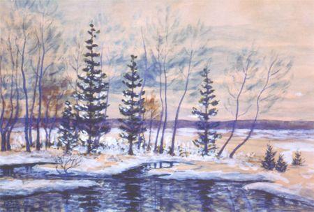 Холодная осень, первый снег. 1953г.