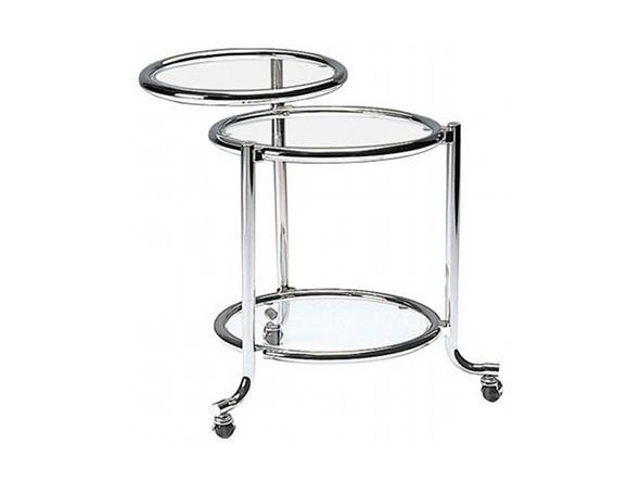 シンプルモダンインテリアにガラステーブルSIDE TROLLEY