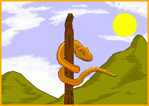 Serpiente colgada de un palo