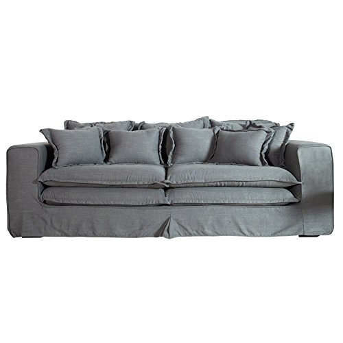xxxl hussensofa cloud grau oliv leinen stoff hussen 230cm sofa wohnlandschaft couch wohnzimmer. Black Bedroom Furniture Sets. Home Design Ideas