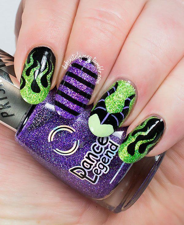 diseño de uñas de malefica