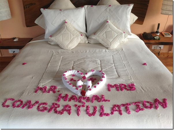 The bed, the first night (suhagraat) of Rajesh Hamal after marriage ...