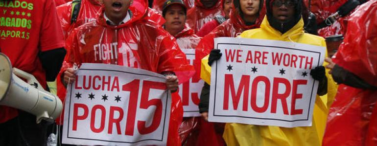 Chicago restaurant workers protest for livable wages.