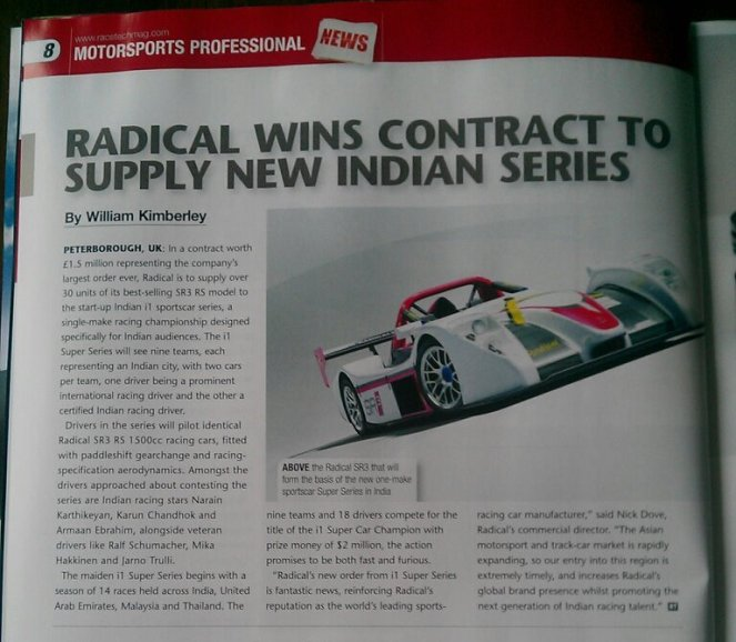 """Report from RaceTechMag - Lex Akehurst - """"Earlier in the year we put in place the order of the largest single purchase of Radical cars totaling 1.5mGBP."""""""