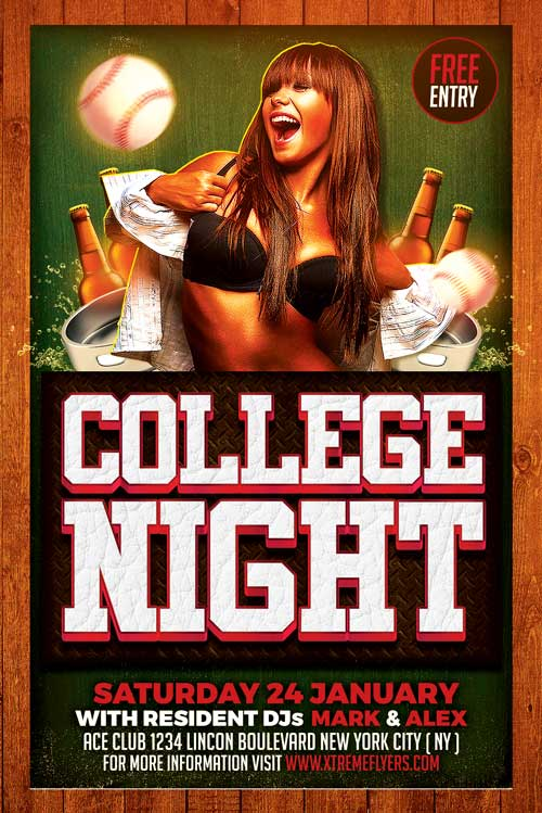 college party flyer template xtremeflyers