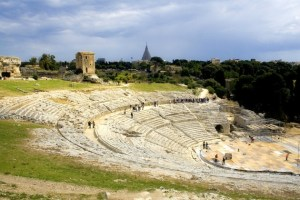 The ancient ruin of the Greek Theater to Syracuse Sicily.