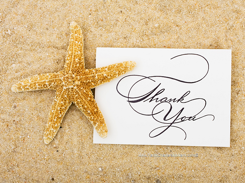 Thank you card in the sand