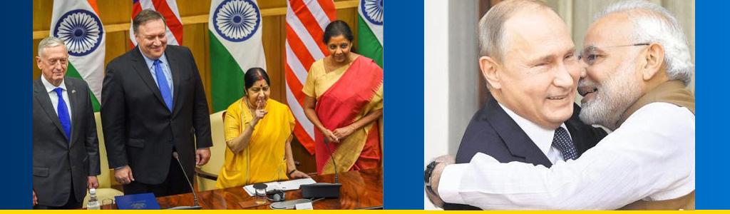 US secretaries of defense and state meet counterparts in Delhi; Prime Minister Narendra Modi embraces Russian President Vladimir Putin