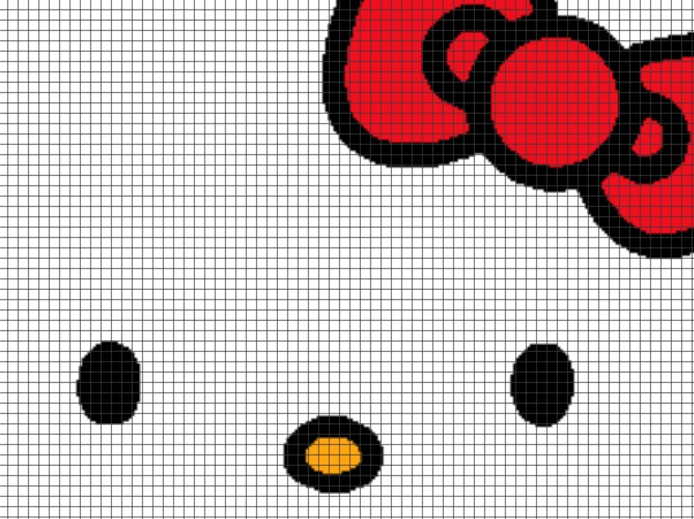 Knitting Games Hello Kitty : Hello kitty face chart graph and row by written
