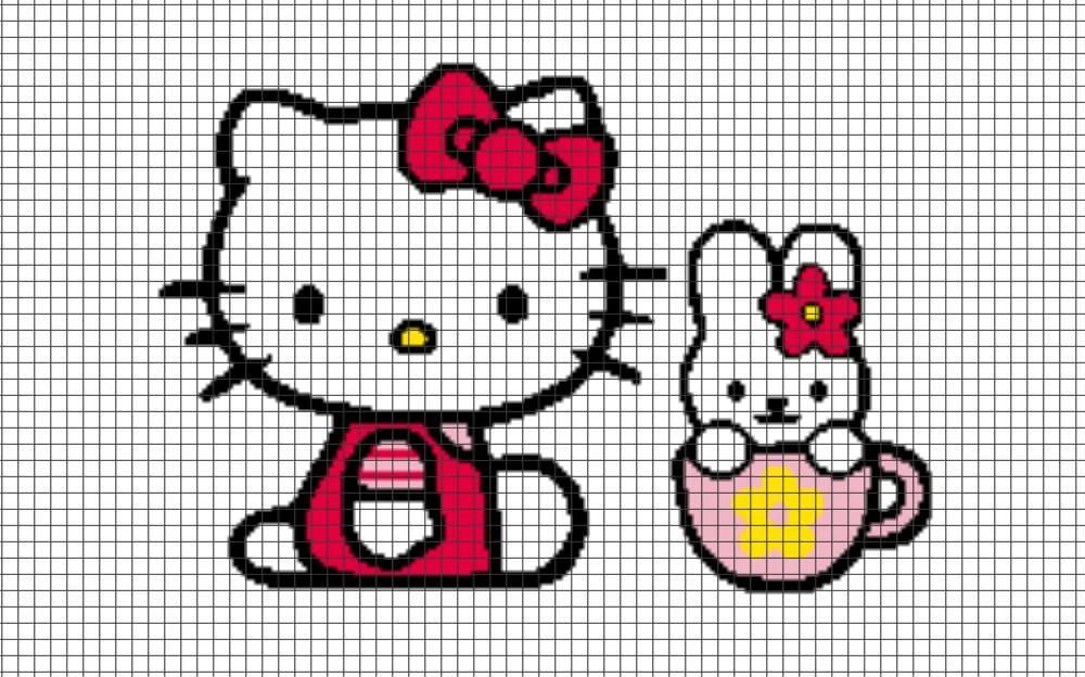 Knitting Games Hello Kitty : Hello kitty teacup chart graph and row by written