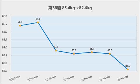 ダイエット第38週のグラフ
