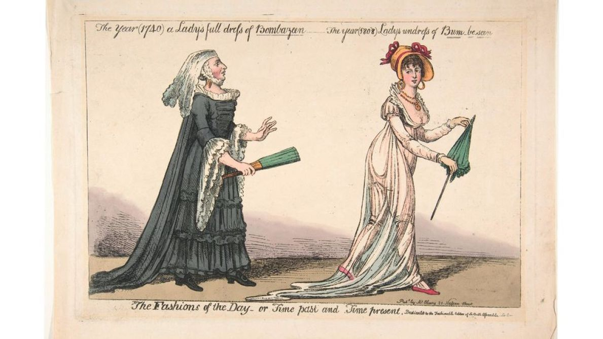 19th century satirical printmakers enjoyed highlighting the perils of muslin dresses, such as the risk of appearing nude in strong sunlight, wind or rain (Credit: Alamy)