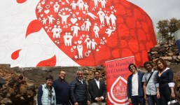 Una gran pintura mural celebra la elección de Santa Cruz de La Palma como sede provincial del Día Mundial del Donante de Sangre