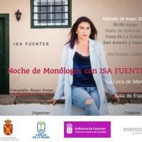 """Noche de Monólogos, con la Representación de los Monólogos de Humor  """"La Loca de Manolo"""" y """"La Sala de Espera"""", por la monologuista Isa Fuentes"""