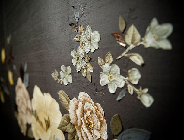 Couture Embroidered Wallpaper by Claire Coles.