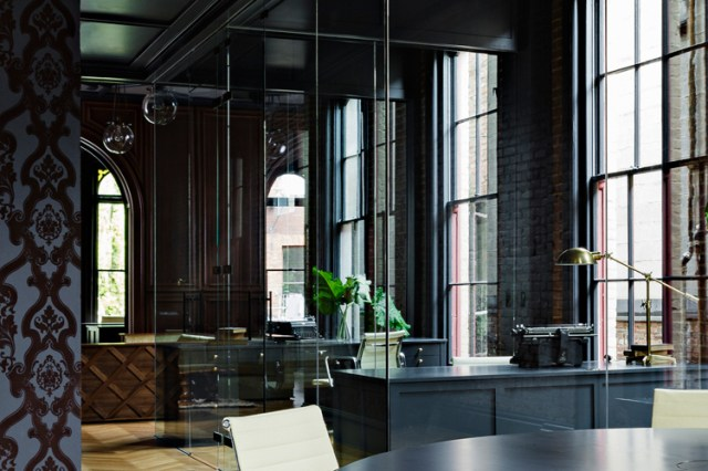 interior design, heritage, office renovation, glass walls, wallpaper, black