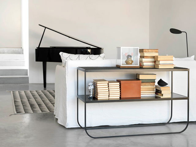 Asplund furniture, LUC top, black piano, white sofa, concrete floor, product styling