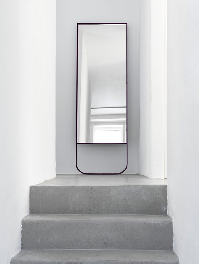 Asplund Furniture, TATI mirror, black, white, concrete floor, product styling