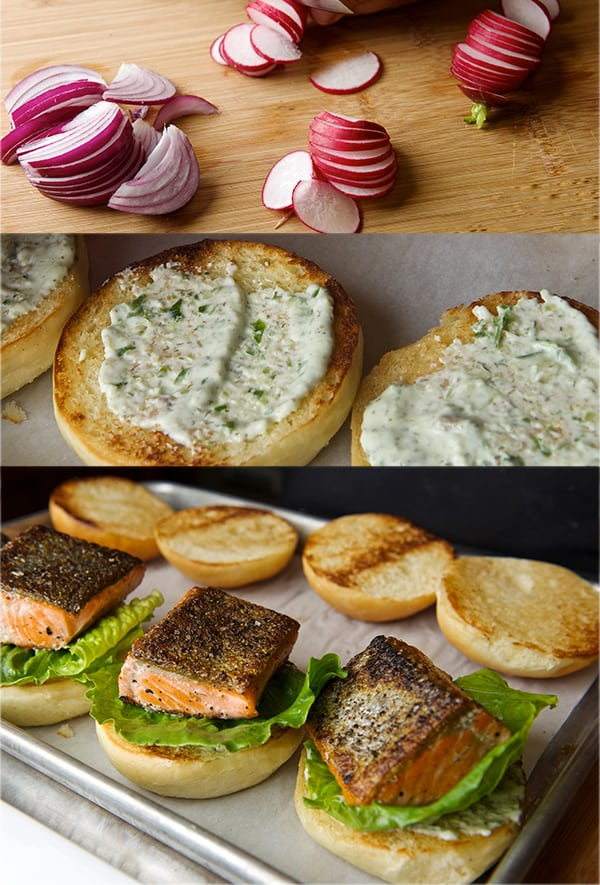 Salmon Sliders with yogurt-cucumber-dill sauce_building your salmon ...