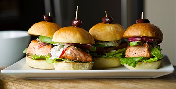Salmon Sliders with yogurt-cucumber-dill sauce ~ Yes, more please!