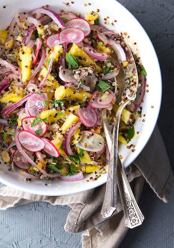 Radish-Pineapple-Mint-Quinoa-Salad_fresh-radishes_Yes,-more-please!